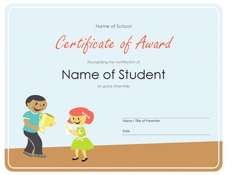 templates for certificates for students certificate of award elementary students
