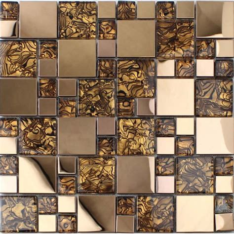 Blue Glass Kitchen Backsplash by Gold Stainless Steel Backsplash For Kitchen And Bathroom
