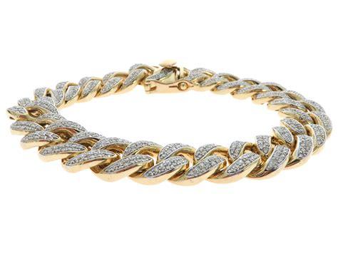 14k yellow gold pave cuban link bracelet 61578