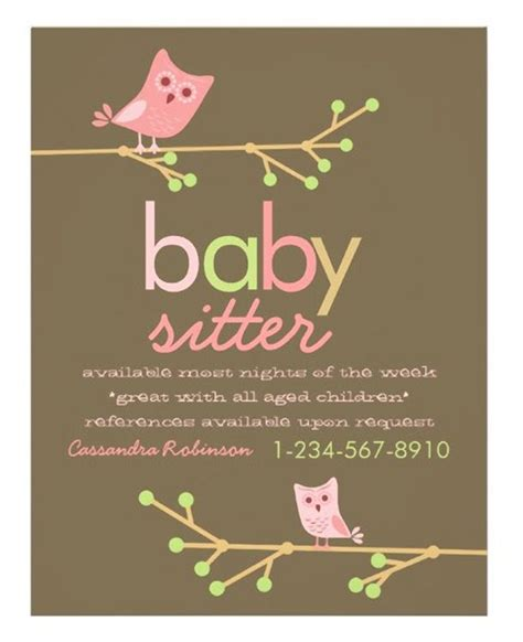 Babysitting Card Template by Best 25 Babysitting Flyers Ideas On