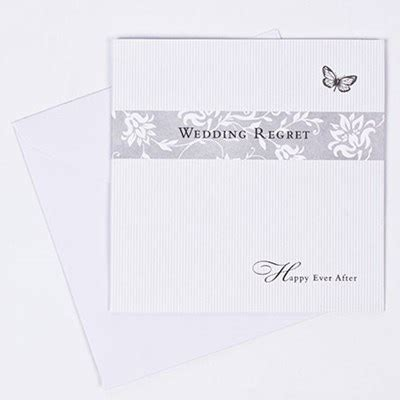 reply wedding invitation regret butterfly print wedding evening acceptance response card