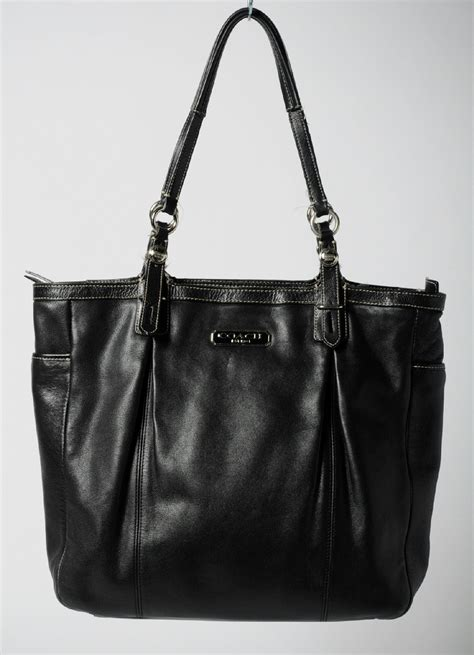 coach black leather silver buckle tote shoulder bag purse