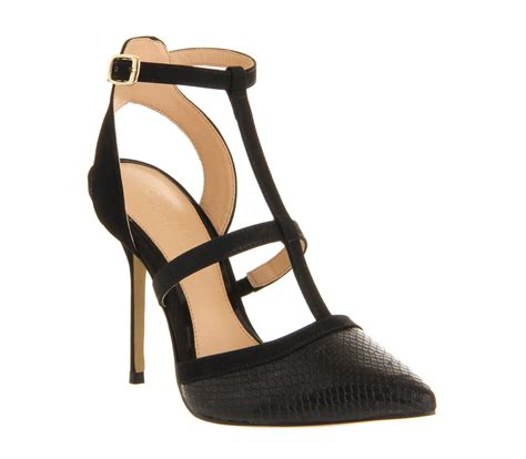 Heels T In Black By office t bar point black leather high heels