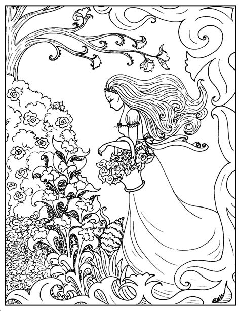 coloring pages flower girl art nouveau coloring pages s mac s place to be
