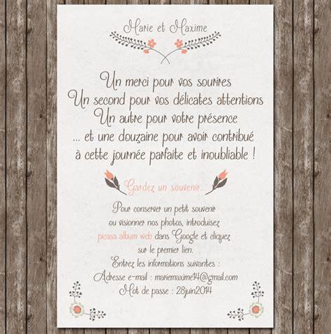 Exemple De Lettre De Remerciement Apres Un Mariage Cr 233 Ation Remerciements Mariage Tendresse Avec Photo