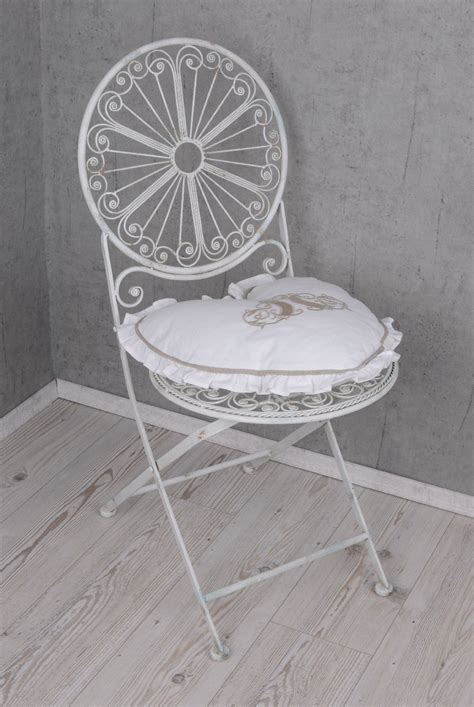 shabby stuhl iron chair shabby chic garden folding chair white iron