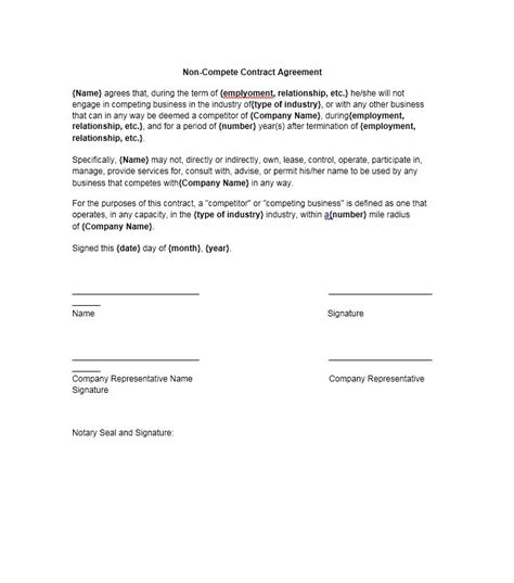 non compete template 39 ready to use non compete agreement templates free