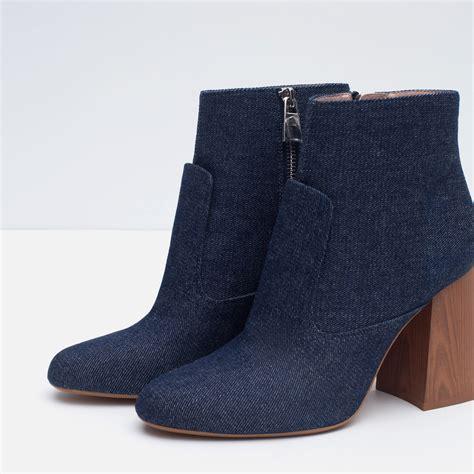 zara high heel denim ankle boots in blue lyst