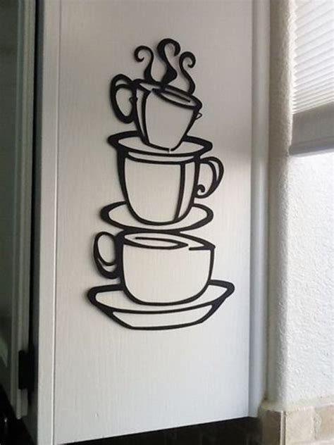 metal art decor for home coffee house cup java silhouette wall art metal mug
