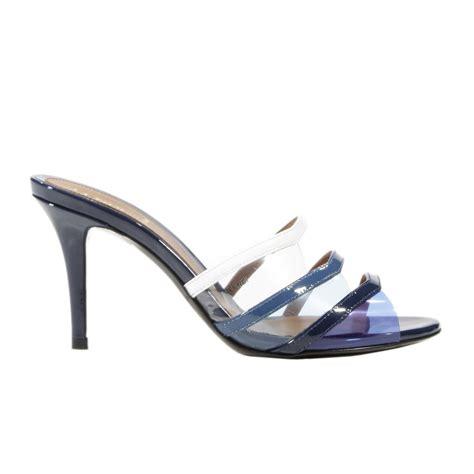 fendi high heels fendi heels heel 8 sandal stripe patent color in blue lyst