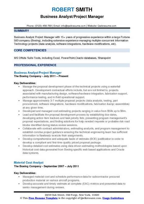 Project Manager Resume Pdf by Project Management Resume Pdf Business Analyst Project