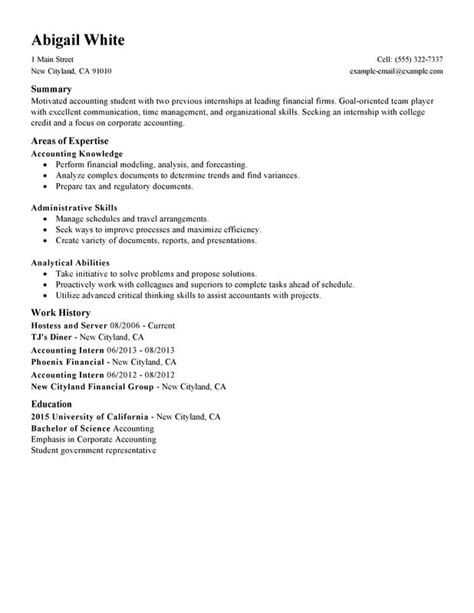 Internship Resume Sle by College Internship Resume College Student Resume For
