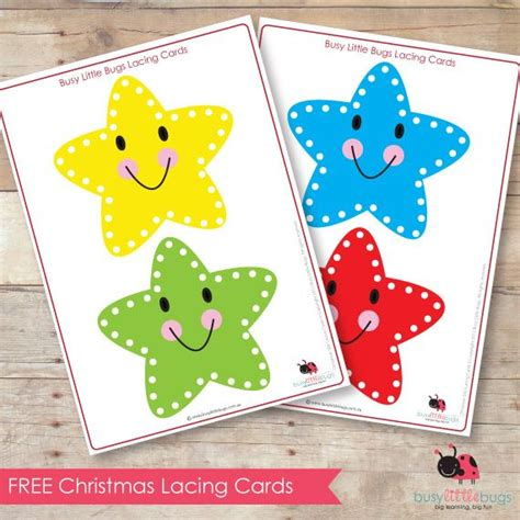 Printable Christmas Lacing Cards | free christmas star lacing cards by busy little bugs