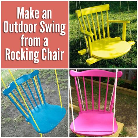 diy chair swing make an outdoor swing from an old rocking chair diy for life