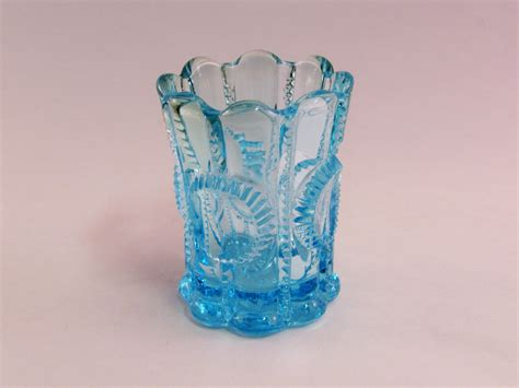 Blue Glass L by L G Wright Priscilla Toothpick Holder Light Blue Glass