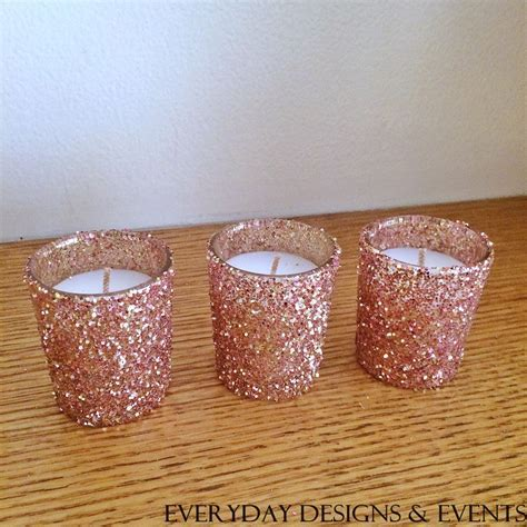 25 rose gold votive candles, Wedding Centerpiece, Rose