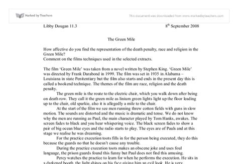 Green Mile Essay by Green Mile Gcse Marked By Teachers