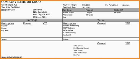 ir pay stub template word para the pay stub template for ms word