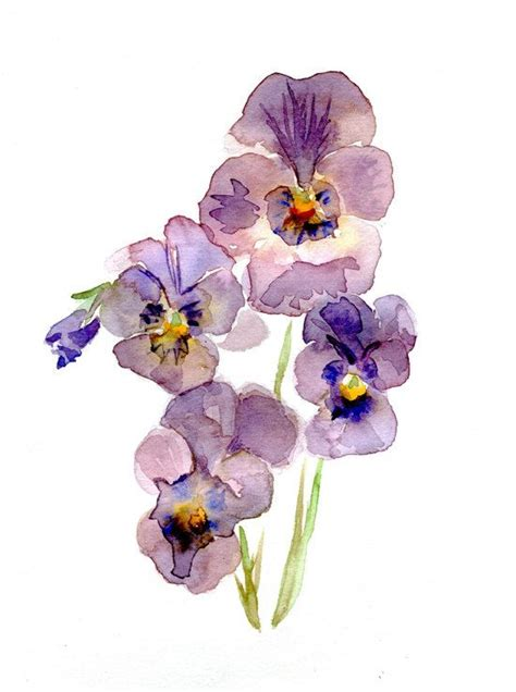 watercolor tattoo violets original violet pansy watercolor painting flower