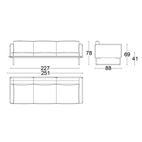 3 seat sofa dimensions cassina 202 8 3 seat sofa