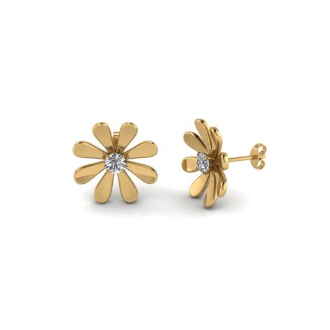 flower design ear studs timeless gold and diamond earrings for women fascinating