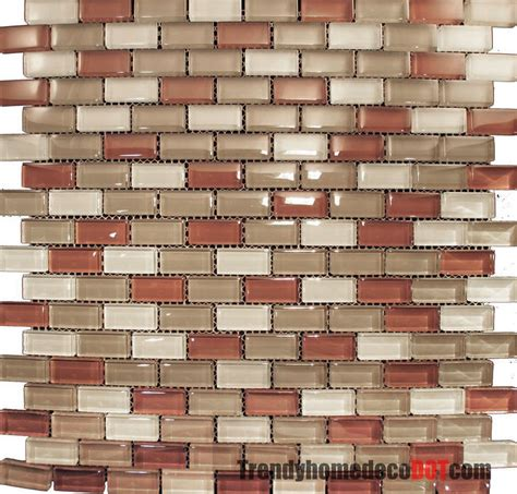 brick tile kitchen backsplash 10sf red brown mini brick crystal glass mosaic tile