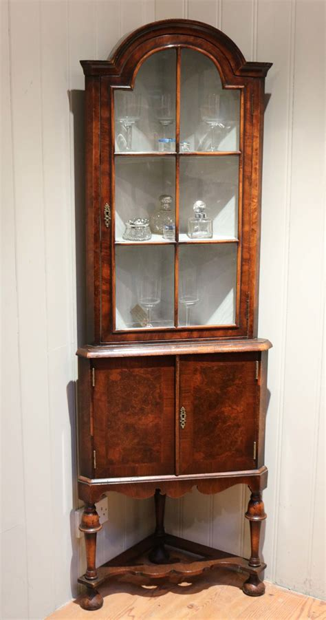 burr walnut corner display cabinet antiques atlas
