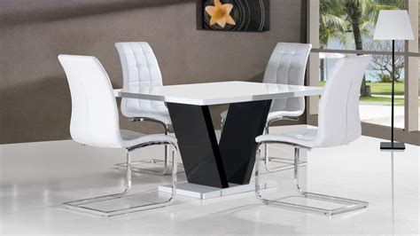 White High Gloss Dining Table And 4 Chairs by White High Gloss Dining Table 4 Chairs Black Base