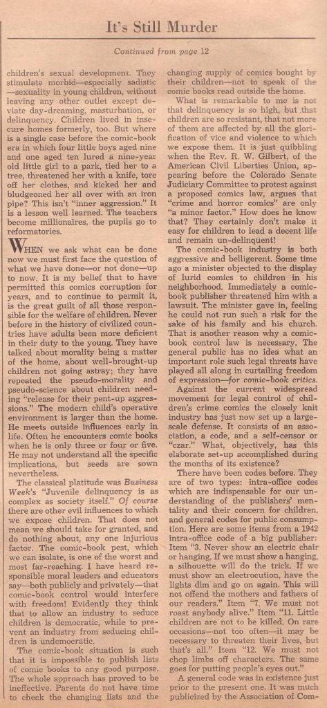 Saturday Review Literature Archives by Dr Wertham In The Saturday Review Of Literature April 9 1955