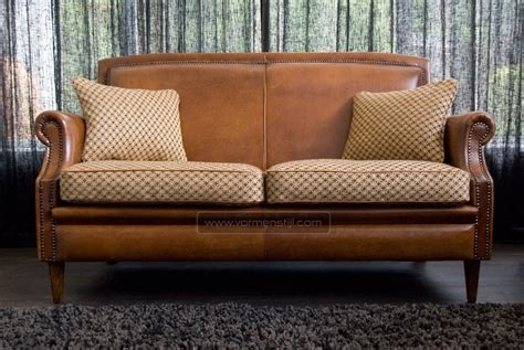 leather couch with fabric cushions english notary sofa in thick antique sheep leather with