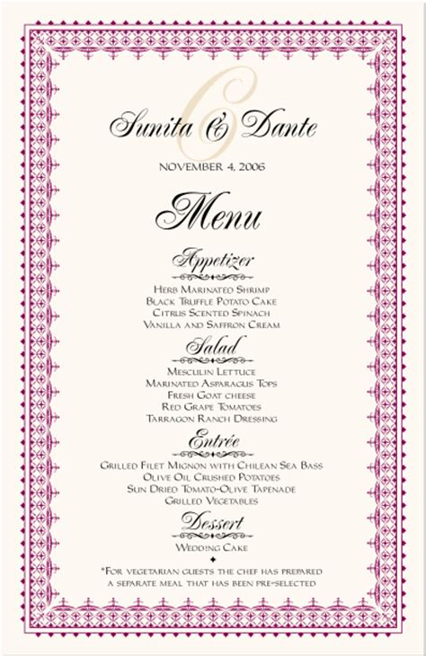 indian menu design templates