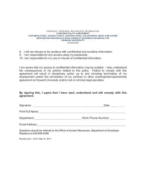 sle hr confidentiality agreement 6 documents in pdf
