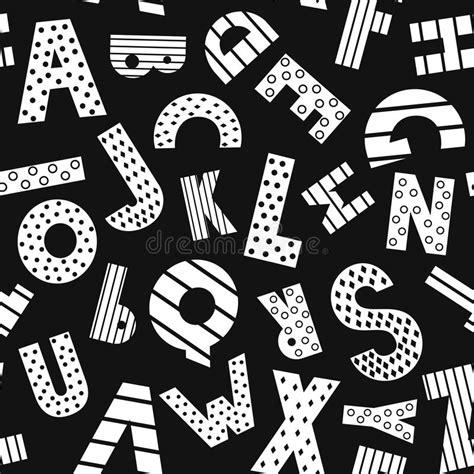 cartoon alphabet seamless pattern on black background