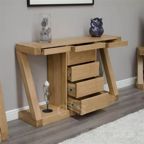 Z Oak Console Table Buy Homestyle Gb Z Oak Designer Console Table With Drawers Wide Cfs Uk