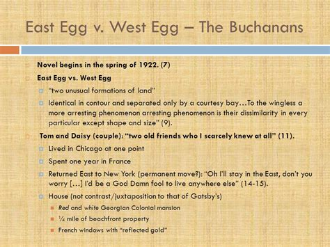 east egg and west egg in the great gatsby chart the great gatsby chapter ppt download