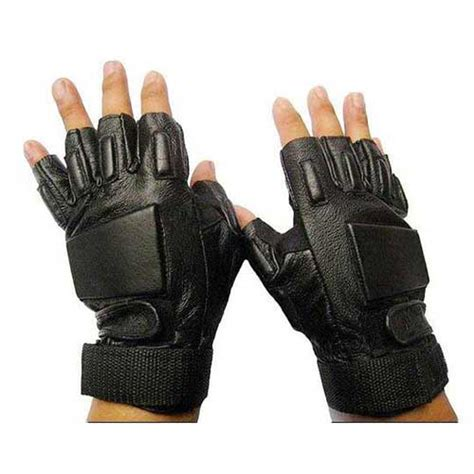 Glove Tactical Bikers Paintball Airsoft Impact Half mens army airsoft fingerless leather gloves black