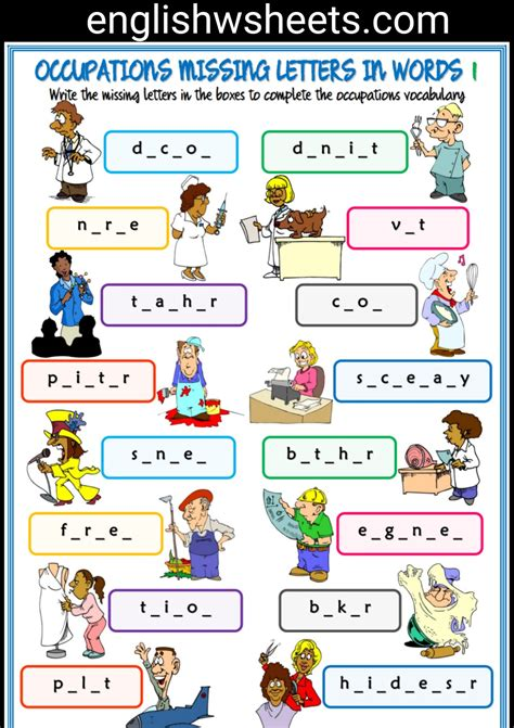 free printable english worksheets occupations jobs esl printable missing letters in words worksheets for