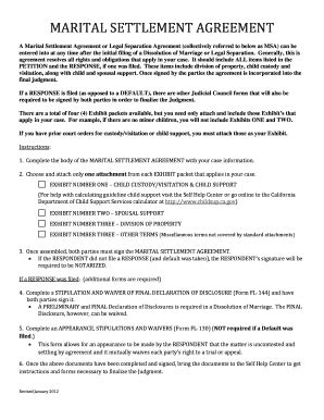 marital settlement agreement template separation agreement template forms fillable printable