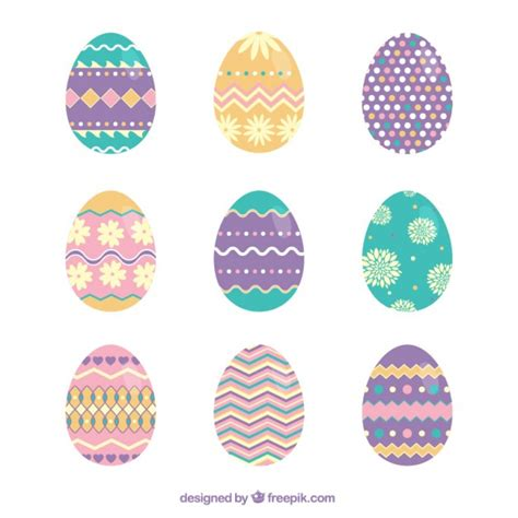 pretty easter eggs cute easter eggs with abstract ornaments vector premium