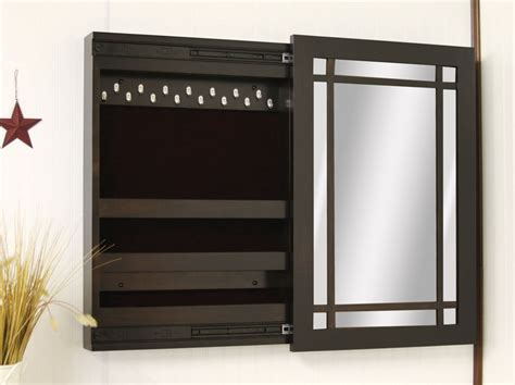 Jewelry Mirror Armoire Compact Wall Mounted Jewelry Box With Sliding Mirror