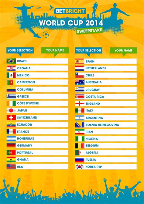 World Cup Sweepstake - betbright s sweepstake pack for world cup 2014 betbright blog