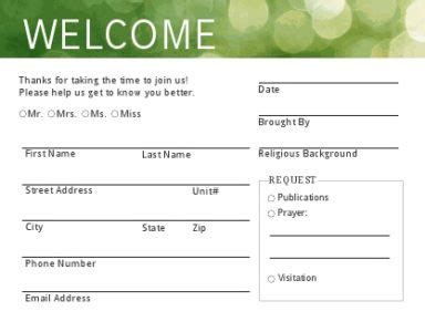 church visitor information cards