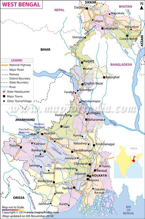 bengal india map india tourist map