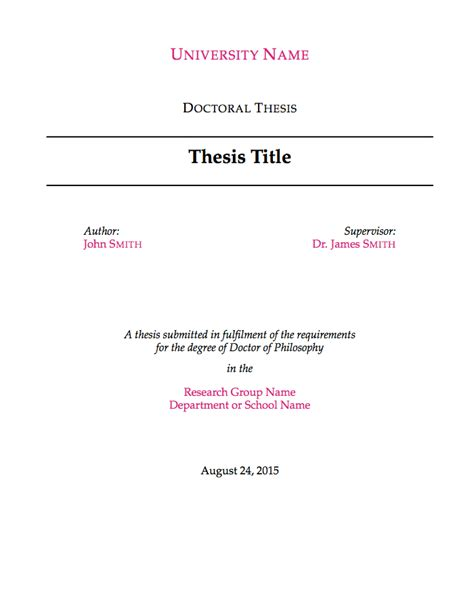 Phd Dissertation Template by Templates 187 Theses