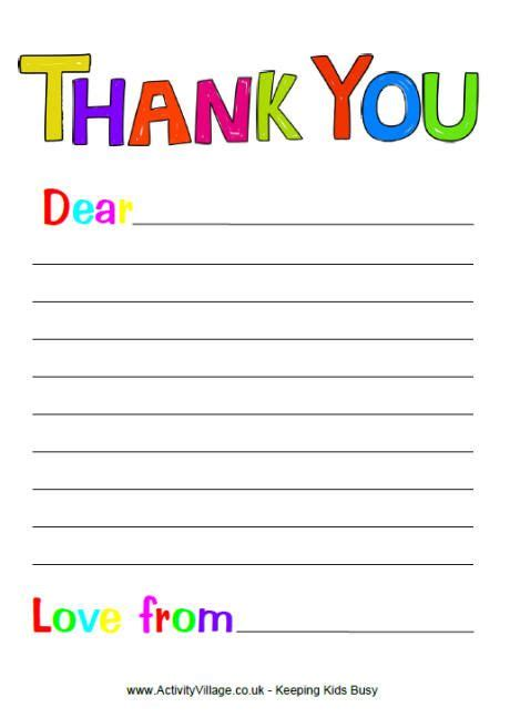thank you card template for students free printable thank you note paper for children search