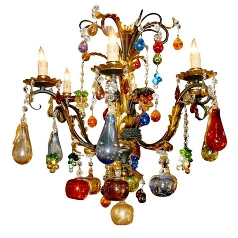 Multicolor Chandelier Italy Multicolor Blown Murano Glass Gilded Iron Chandelier 20th Century H25diam26