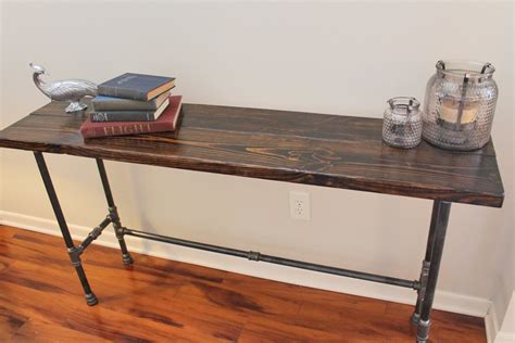bar console steel and pine wood long console bar table