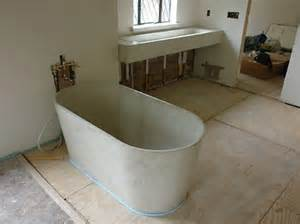 concrete bathtub rock elements