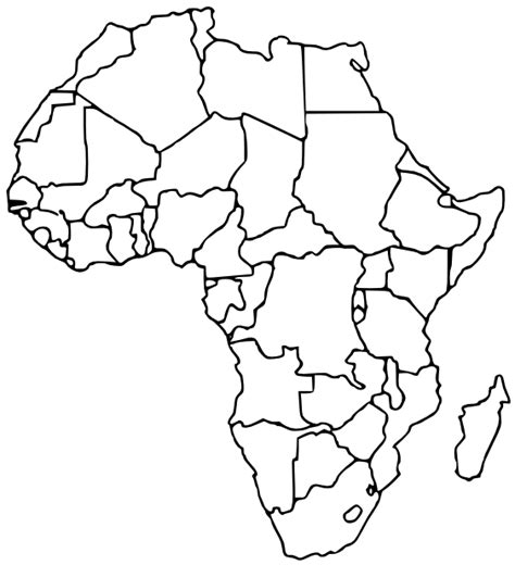 Blank Outline Of Africa by Countries Blank Geography Continents Africa Countries Blank Png Html