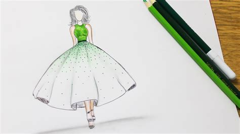 draw  wonderful dress prom dress drawing youtube